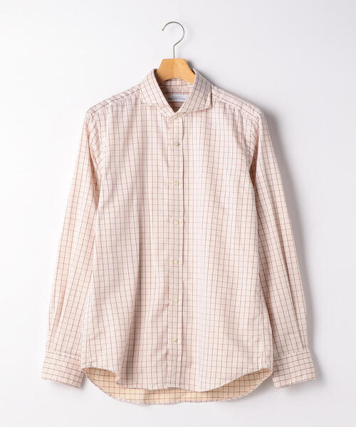ET コットン/麻 ツイルチェック カッタウェイカラー シャツ