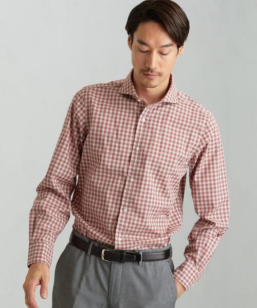 ET メランジギンガムチェック カッタウェイカラーシャツ