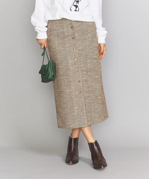 BY ツイードフロントボタンタイトスカート ◆