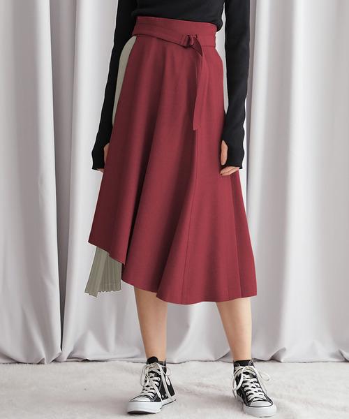 STUDIOUS(ステュディオス)の「【STUDIOUS】マルチプリーツミックススカート(スカート)」|レッド