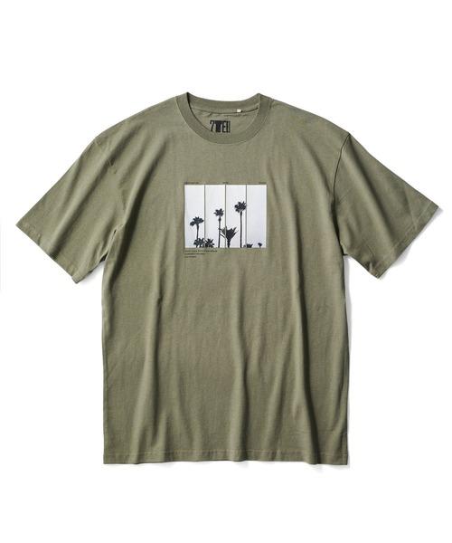 SEVENDAYS=SUNDAY(セブンデイズサンデイ)の「【2020春夏】Palm TreePHOTOプリントTシャツ*(Tシャツ/カットソー)」|カーキ