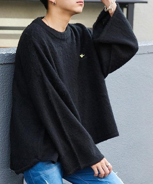 Mark Gonzales/マークゴンザレス MONO-MART別注 ビッグシルエット ワイドスリーブ/ヘムライン シャギーニット セーター