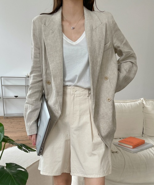 【chuclla】【2021/SSリネン素材追加】Double tailored set up jacket sb-1 cb-3 chw1364