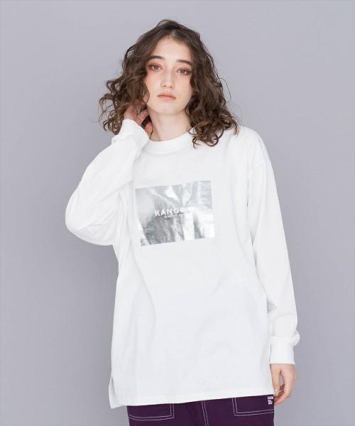 KANGOL(カンゴール)の「KANGOL【カンゴール】ブランドロゴ箔プリントロンTEE(Tシャツ/カットソー)」|ホワイト