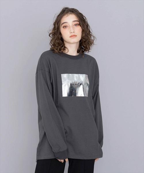 KANGOL(カンゴール)の「KANGOL【カンゴール】ブランドロゴ箔プリントロンTEE(Tシャツ/カットソー)」|チャコールグレー