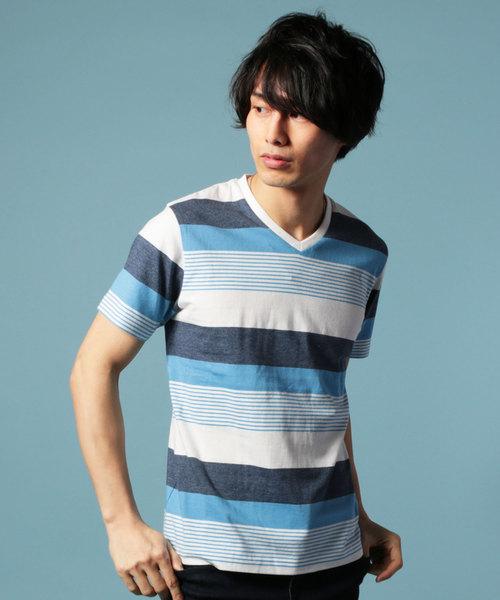 先染め転換ボーダーVネック半袖Tシャツ