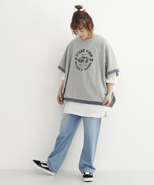 リメイク風ロゴプリントビックTシャツ079-7123