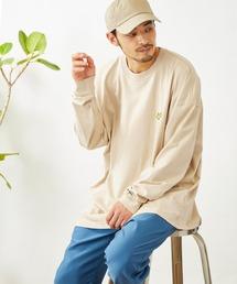 Mark Gonzales/マークゴンザレス MONO-MART別注 ビッグシルエット胸刺繍 長袖Teeベージュ