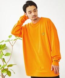 Mark Gonzales/マークゴンザレス MONO-MART別注 ビッグシルエット胸刺繍 長袖Teeオレンジ