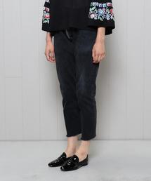 <TrAnsference>BLACK DENIM B/SHAPE PANTS/パンツ.: