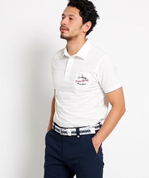 【吸水速乾】胸ポケット付き 半袖ボーダーポロシャツ メンズ