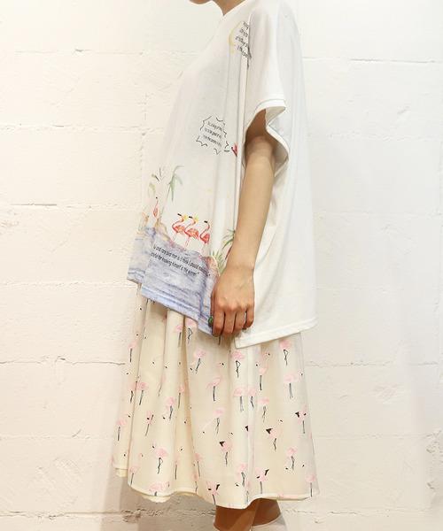 フラミンゴプリント ビッグTシャツ