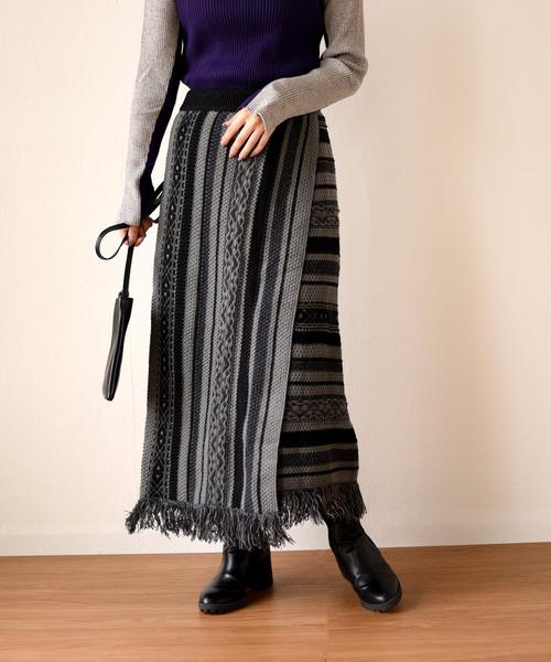 ジャガードニットフリンジタイトスカート