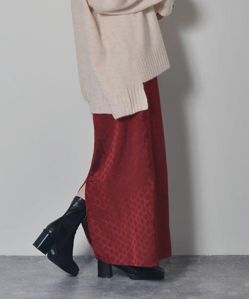 ジャガード小紋柄マキシスカート