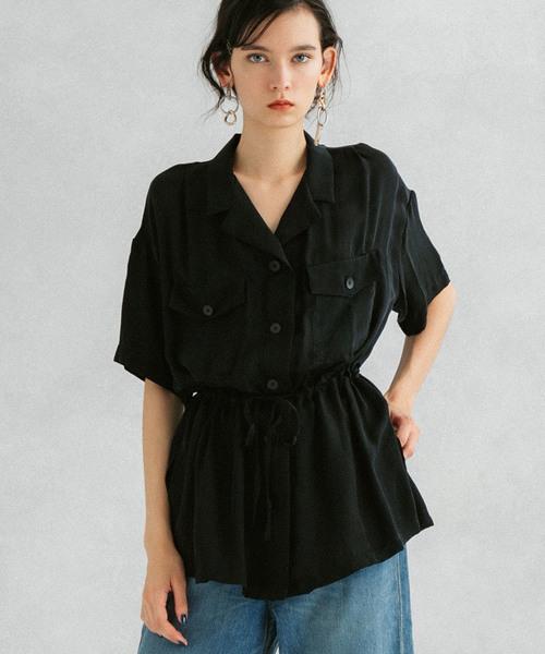 UNITED TOKYO(ユナイテッドトウキョウ)の「ブラウジング開襟シャツ(シャツ/ブラウス)」|ブラック