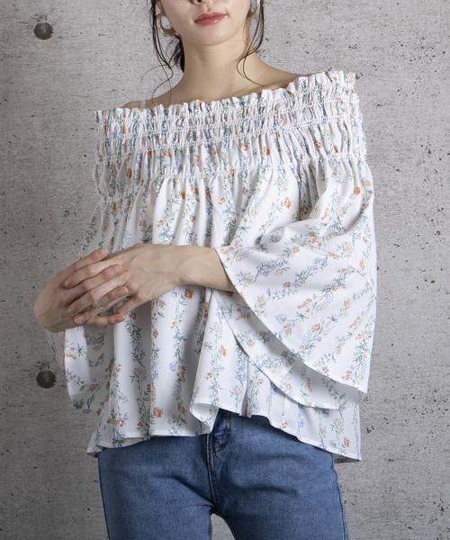 【G】ジョーセット縦花柄シャーリングブラウス