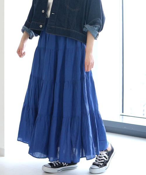 AMERICAN HOLIC(アメリカンホリック)の「ティアードマキシスカート(スカート)」|ブルー
