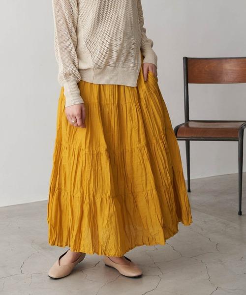 インド綿ティアードロングスカート
