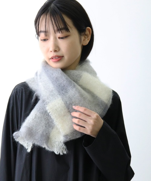 【 CUSHENDALE / カシュヘンデール 】BRUSHED MOHAIR SCARF