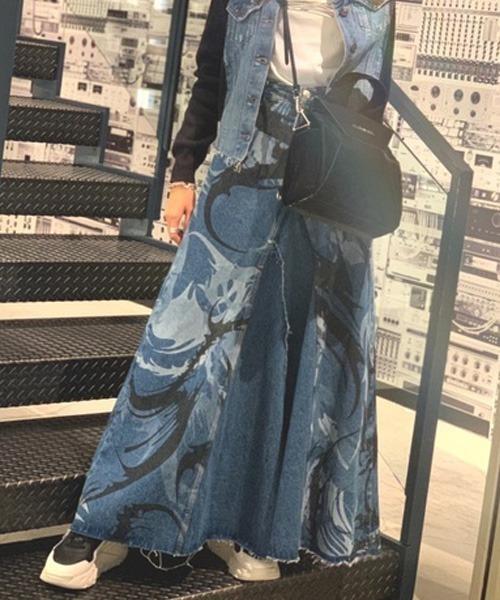 DIESEL(ディーゼル)の「レディース スカート Aラインロングデニムスカート(スカート)」|インディゴブルー