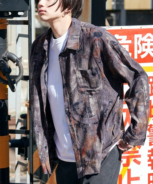 レトロ柄デザイン オーバーサイズ ドレープL/Sシャツ