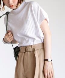 【リピT】リブハイネックTシャツ#(リブT/フレンチスリーブ)