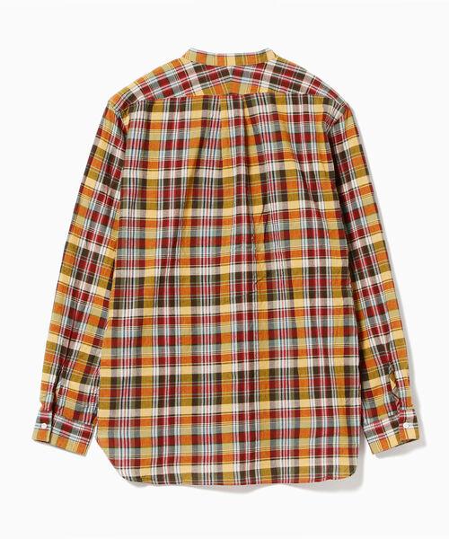 【WEB限定】BEAMS PLUS / マドラスチェック バンドカラー プルオーバーシャツ