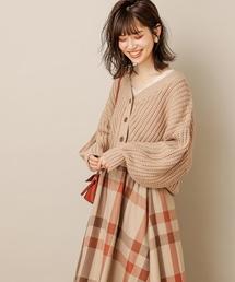 natural couture(ナチュラルクチュール)の畦編みざっくりカーディガン(カーディガン)