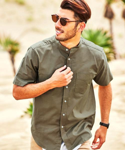 高密度オックスフォードストレッチバンドカラー半袖シャツ