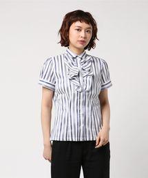 NARACAMICIE(ナラカミーチェ)のイタリアンストライプフロントフリル半袖シャツ(シャツ/ブラウス)