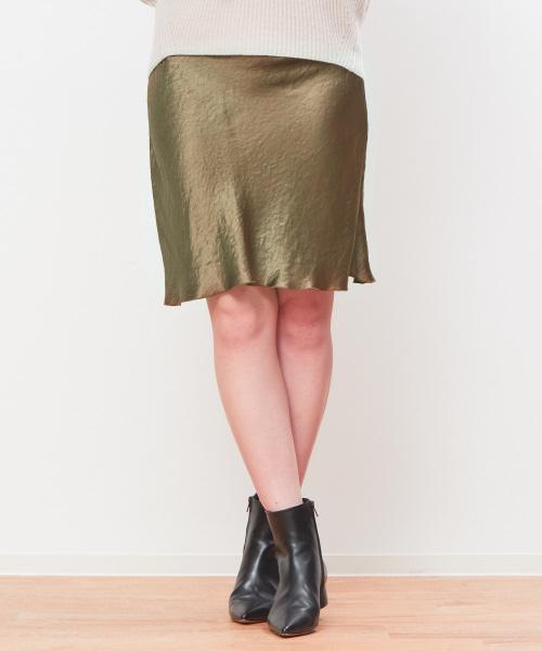 Rouge vif(ルージュヴィフ)の「【BAILAコラボ】サテンミニスカート(スカート)」 ベージュ