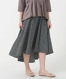 【WEB限定・着丈が選べる】イレギュラーヘムプリントスカート