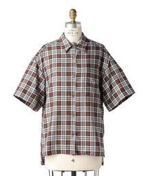 Drawer メランジチェックショートスリーブシャツ