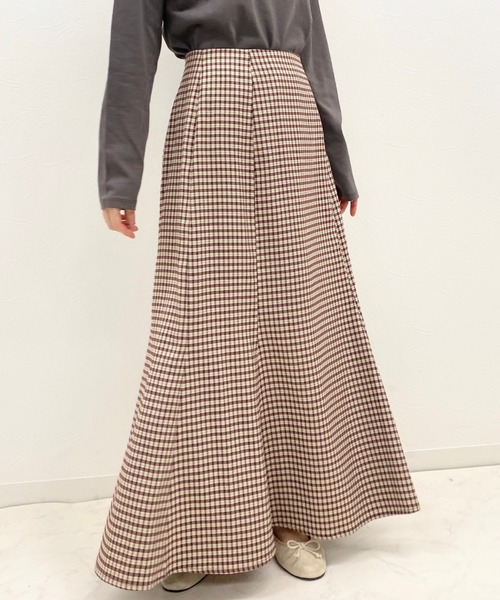 archives(アルシーヴ)の「チェックマーメイドスカート(スカート)」|ブラウン
