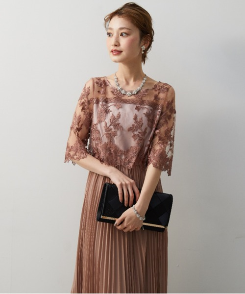 オリジナル模様柄刺繍レース使い プリーツ加工ミモレ丈ワンピースドレス