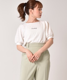 ロゴ刺繍袖ボリュームプルオーバーオフホワイト