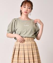 ロゴ刺繍袖ボリュームプルオーバーライトグリーン