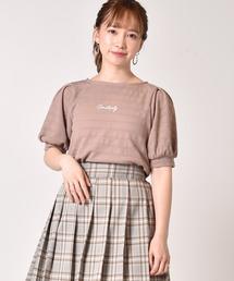 ロゴ刺繍袖ボリュームプルオーバーライトブラウン