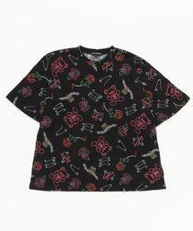 PUNK IS BEAR総柄 ビッグTシャツ【L】