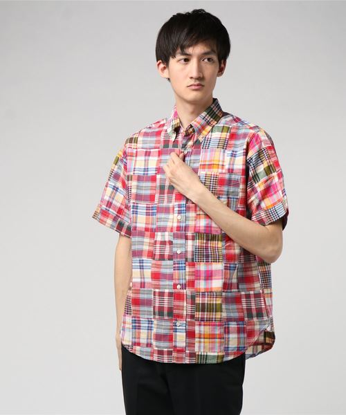 【HOUSTON SELECT】S/S CHECK PATCHWORK SHIRT