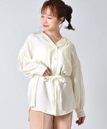 開襟シアーシャツオフホワイト