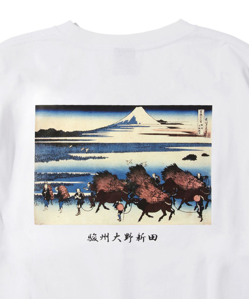 葛飾北斎富嶽三十六景 プリントロングTシャツ-1