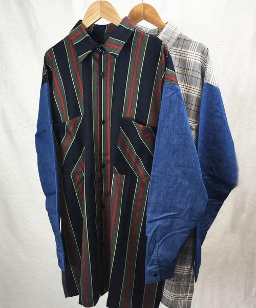 早い者勝ち チェック柄・ストライプ柄ロングシャツ(ビッグシルエット対応), ZECOO COLOR 483452f2
