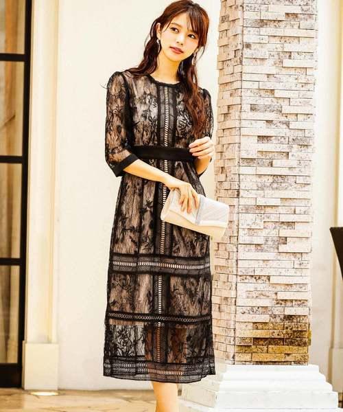 Fashion Letter(ファッションレター)の「総レースIラインロング 結婚式ワンピース パーティードレス(ドレス)」 ブラック