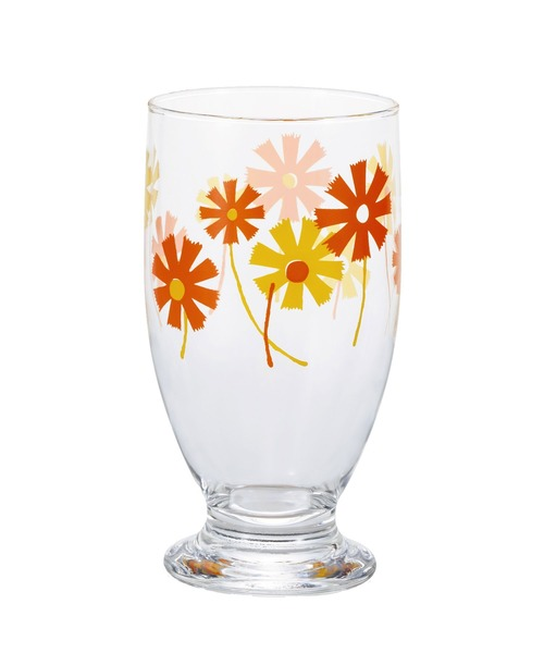 I.D.E.A international(イデアインターナショナル)の「アデリアレトロ台付グラス320(グラス/マグカップ/タンブラー)」|オレンジ