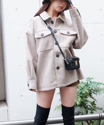 杢フェイクウールオーバーサイズジャケットモカ