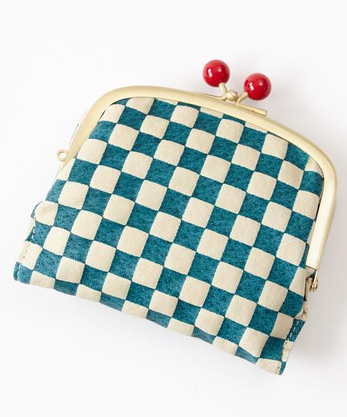 ふりふ(フリフ)の「市松二つ折り財布(財布)」|ターコイズブルー
