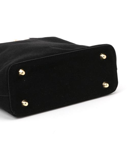 ゴールドVライン スウェードハンドバッグ ショルダーバッグ