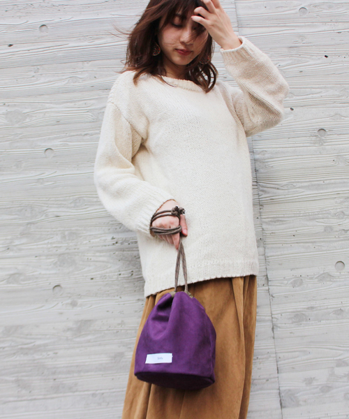 SINFU/シンフ suede pouch bag/スエード ポーチ 巾着バッグ