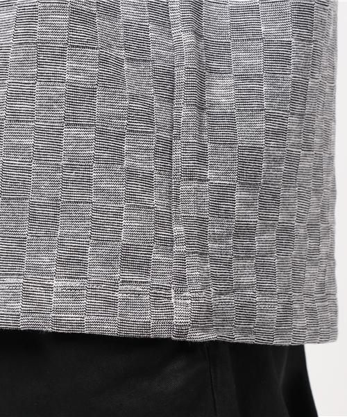 【大きいサイズ】市松柄ジャガードVネックTシャツ